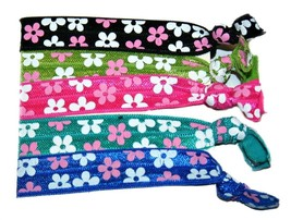 Ponytail Hair Band FLOWERS, Girl's Accessories, Hair Accessories (Set of 5) - $5.00