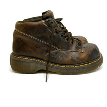 Vintage Dr. Martens Brown Leather Ankle Boots Floral Platform Wedge Shoe... - $98.95