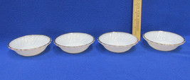 Set 4 Vintage Berry Dessert Bowls White Milk Glass Gold Scalloped Trim F... - $10.88