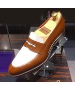Men Vintage Brown White Suede Leather Rounded Toe Moccasin Loafer Slip O... - $139.90+