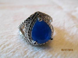 .  LARGE STONED  SAPPHIRE RING, SIZE 6 1/4, NEW, 925 - $15.00