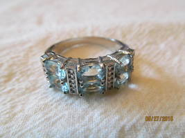 BLUE TOPAZ  RING, SIZE 8.5, NEW - £8.89 GBP