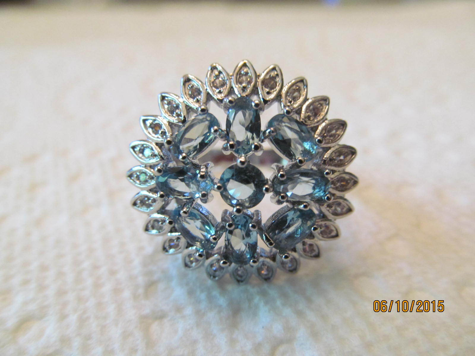 BLUE TOPAZ  RING, SIZE 9, NEW
