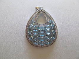 LARGE BLUE TOPAZ PENDENT (NEW AND REAL) - £14.08 GBP