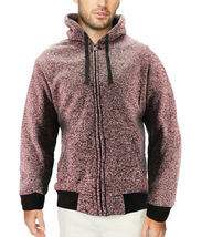 Men's Salt and Pepper Soft Sweater Sherpa Lined Heathered Zip Up Hoodie Jacket image 5