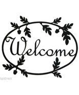 Wrought Iron Welcome Sign Acorn Silhouette Outdoor Plaque Outside Decor ... - $34.99