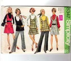 1968 Simplicity Jumper Tunic Pleated Skirt Pants Mod Pattern 8347 Size 14 VTG - $15.84