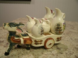 Unique Vintage CHASE Hand Painted Ceramic Donkey w/ Wagon Condiment Cadd... - $44.06