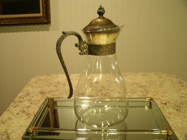 Great Vintage Glass Water / Juice Pitcher w/ Or... - $32.18