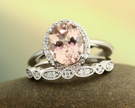 2ctw Oval AAA Morganite Wedding Bridal Ring Set 14K White Gold Over .925 Silver - $114.39
