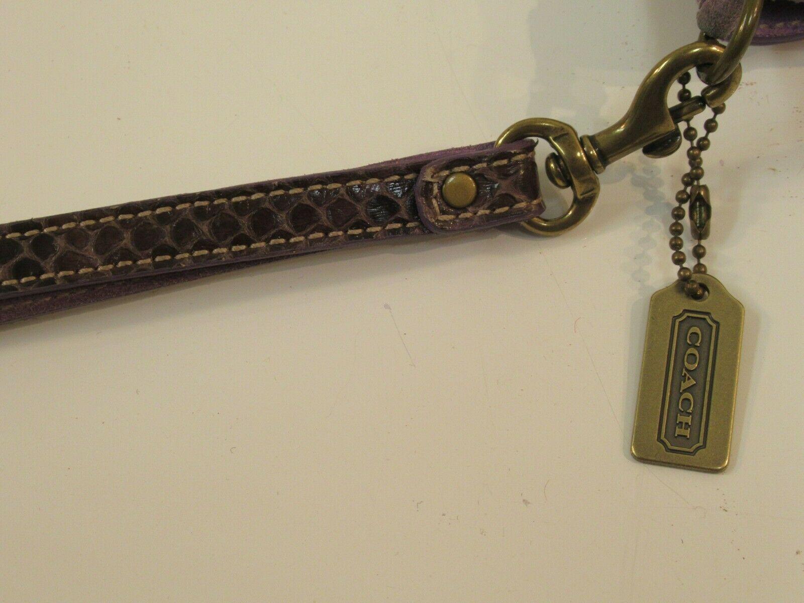 Coach Wristlet Tweed Purple Suede Wallet Buckle Handbag Clutch Monogram C image 4