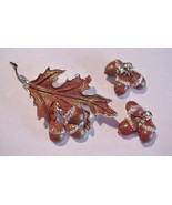 Acorns & Leaves Enamel Brooch and Earrings Unsi... - $28.71