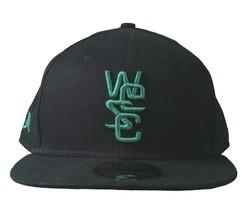 WeSC NEW ERA 59Fifty Noir Vert Coton Bio Ajusté Casquette de Baseball Nwt