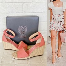 ✨New VINCE CAMUTO Leera Nubuck Espadrille Wedge Sandals Pink Womens Size 9.5M - $50.78