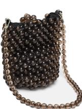ZARA. GENUINE MINI BEADED BUCKET BAG BNWT GRAY - $48.74