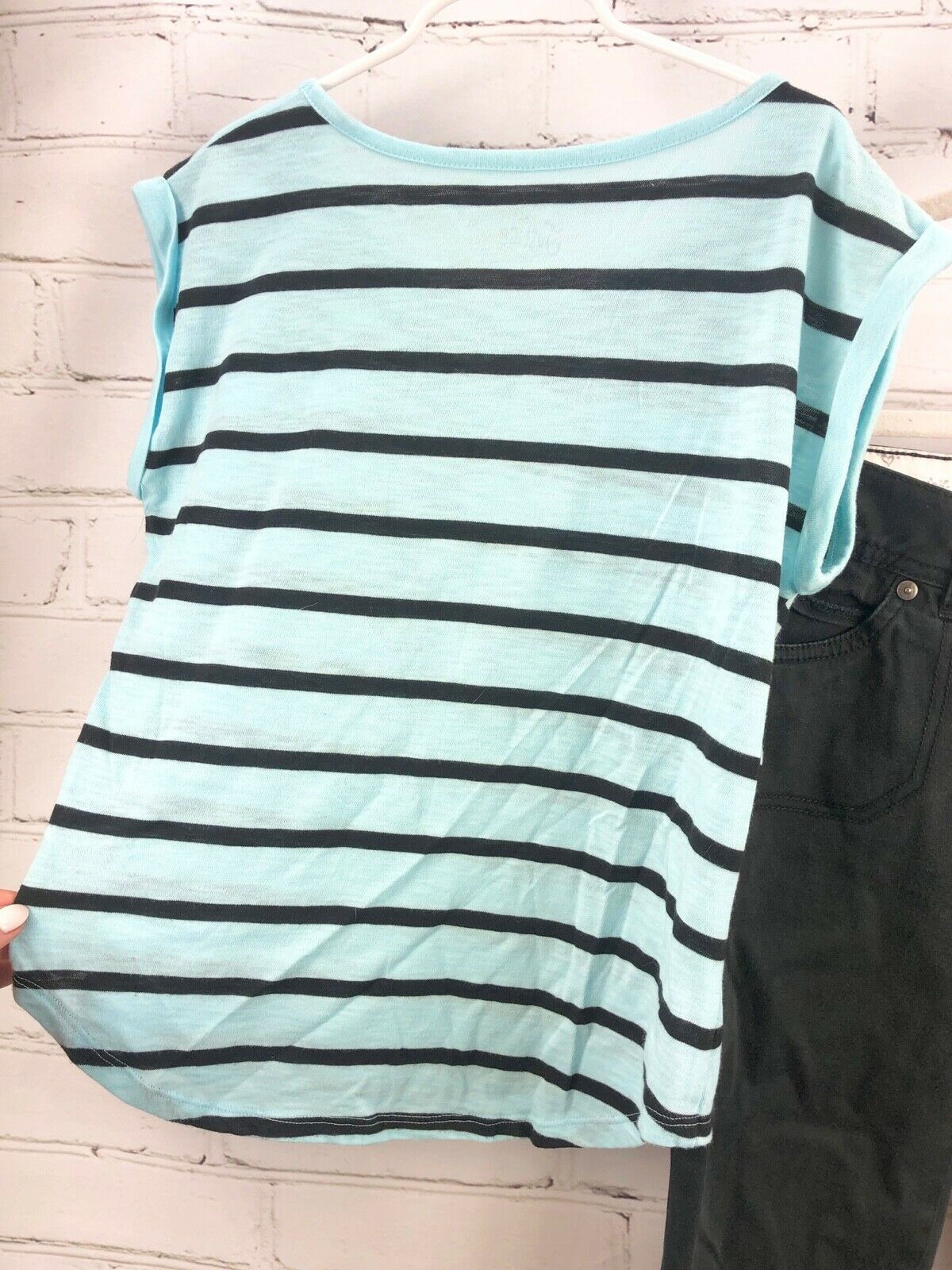 JUSTICE Beaded Stripe Top + Black Capri Pants Girls Size 12 Outfit Set image 5