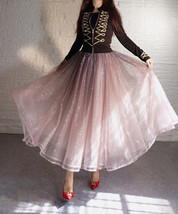 Rose Sparkle Tulle Skirt Long Tutu Glitter Skirt Rose Gold Sequin Party Outfit image 2