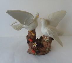 "Beige Ceramic Statute of Two Bird Figurine 8"" Tall  10 1/2"" Wide Fragile - $17.96"