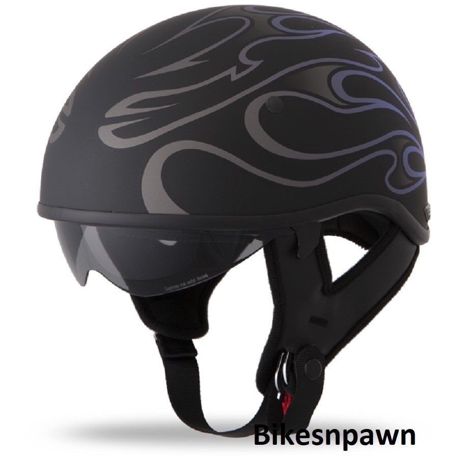 New XL Flat Black/Purple Fly Racing DOT Approved .357 Motorcycle Half Helmet