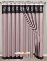 4-P Floral Paisley Embroidery Curtain Set Purple Lilac Valance Drape Sheer Liner - $40.89