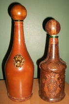 SALE!!!  VTG LEATHER Wrapped Glass Decanter/ Lion Head Decanters MADE IN... - $34.50