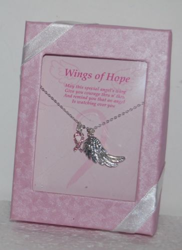 DM Merchandising BCAWING Pink Ribbon Silver Wing Necklace Gift Box