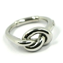 18K WHITE GOLD INFINITE CENTRAL RING, INFINITY, BRAIDED, KNOT, MADE IN ITALY image 1