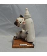 Giuseppe Armani Italy Figurine Cat Licking Bottle  - $27.72