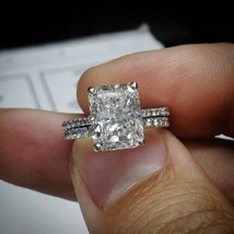 Certified 3.00Ct Radiant White Diamond Engagement Ring in Real 14K White... - $295.96