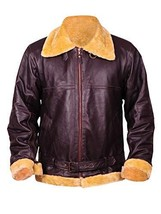 Dunkirk Farrier Tom Hardy Fur Shearling Aviator Brown Bomber Real Leather Jacket image 1