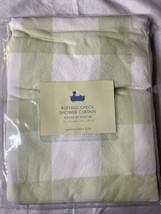 New Pottery Barn Kids Buffalo Check Shower Curtain Mint Green White Plaid - $48.99