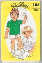 Sew Easy vintage Pattern 105 Toddler's Saddle Rugby Shirt - 1-4 Factory ... - $5.80