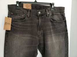 Polo Ralph Lauren Mens Varick Slim Straight Black Distressed J EAN S Sz 33X32 Nwt - $107.53