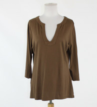 Brown 100% cotton EDDIE BAUER 3/4 sleeve split neckline blouse PL - $19.99