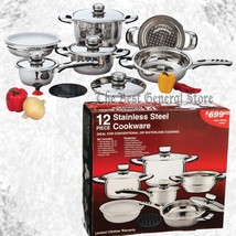 12pc 9-Ply Waterless Cookware Set Heavy Gauge Stainless Steel Pots and Pans - $121.89