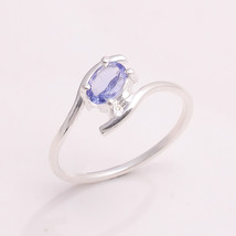 NATURAL TANZANITE 6*4 MM OVAL 925 STERLING SILVER 6.25 US RING - £8.62 GBP