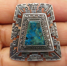 925 Silver - Vintage Turquoise Traditional Etched Pattern Brooch Pin - B... - $36.29