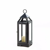 "Contemporary Candle Lantern Slate Dark Gray w/ Clear Glass Small 10"" High - $22.72"