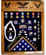 LASER TOP MILITARY BADGE MEDAL FLAG CHALLENGE COIN DISPLAY CASE SHADOW BOX - $451.24