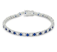 Cassidy Sapphire and Clear Round CZ Tennis Bracelet - 6.5in | 10ct - $55.95