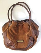 Large Cole Haan Saddle Brown Suede Leather Drawstring Handbag Purse Bag - $199.99