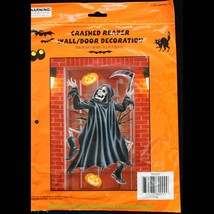 Funny Halloween CRASHED GRIM REAPER DOOR COVER Wall Mural Party Prop Dec... - ₨270.48 INR