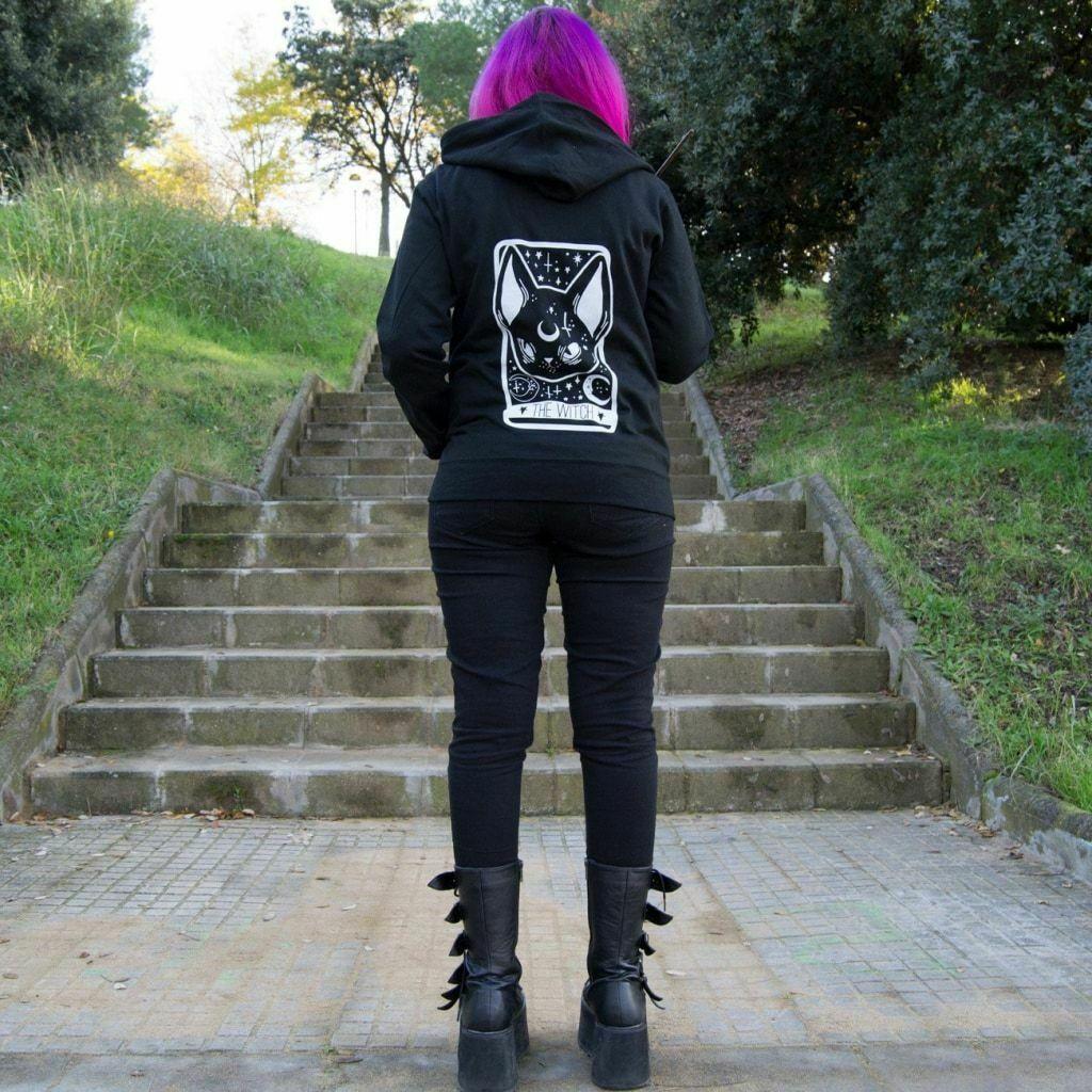 Too Fast Witchy Gato Negro Carta Tarot Gótico Punk Oculto Sudadera con