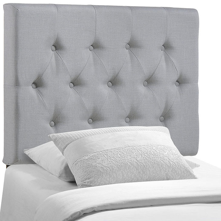 Full Size Upholstered Tufted Headboard White Twin Gray