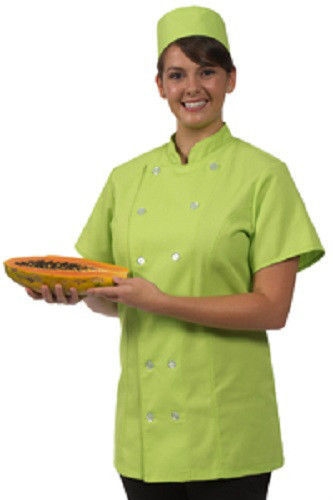 12 Button Front Female Fitted Lime Uniform S/S Chef Coat Jacket Large New