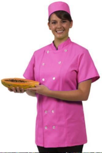 12 Button Front Female Fitted Raspberry Uniform S/S Chef Coat Jacket Medium New