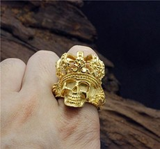 Stainless Steel Fashion Cool Golden King Poker Face Skull Ring For Men (14)