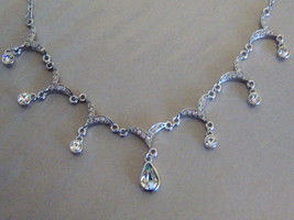 Teardrop Necklace With Clear Stones. - $12.00