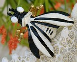 Vintage weiss bug insect fly brooch pin black white enamel thumb155 crop