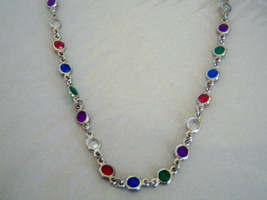 Multi Color Necklace. Fashion Necklace With Colored Stones. - $15.00